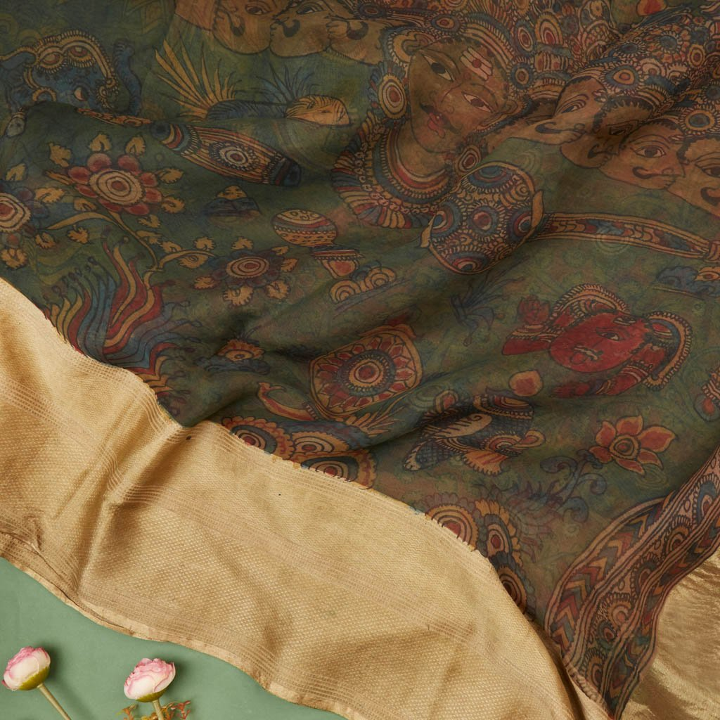 Buy Forest Green Organza Kalamkari Saree