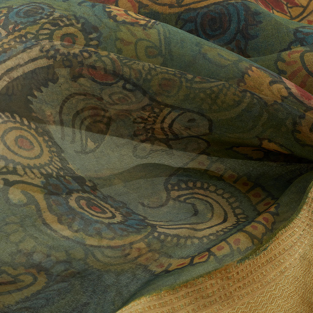 Forest Green Organza Kalamkari Saree