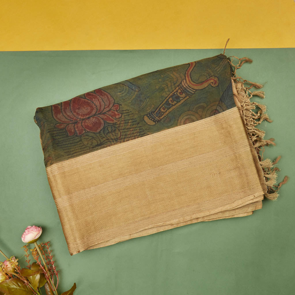 096031-Forest Green Organza Kalamkari Saree