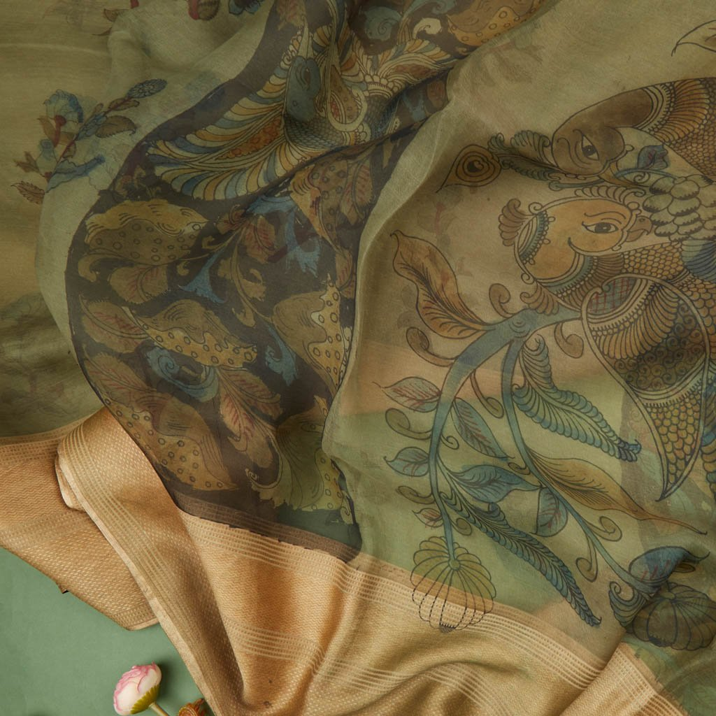 Buy Mint Green Organza Kalamkari Saree