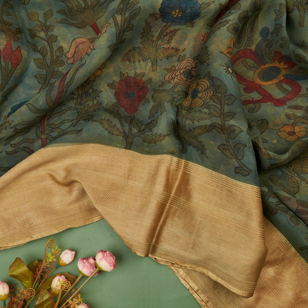 Buy Stone Blue Organza Kalamkari Saree
