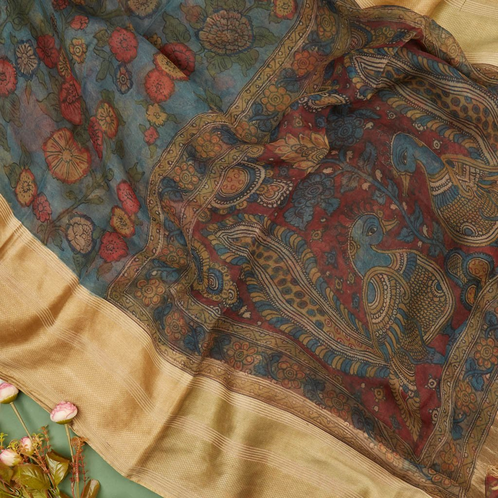 Buy Egyptian Blue Organza Kalamkari Saree