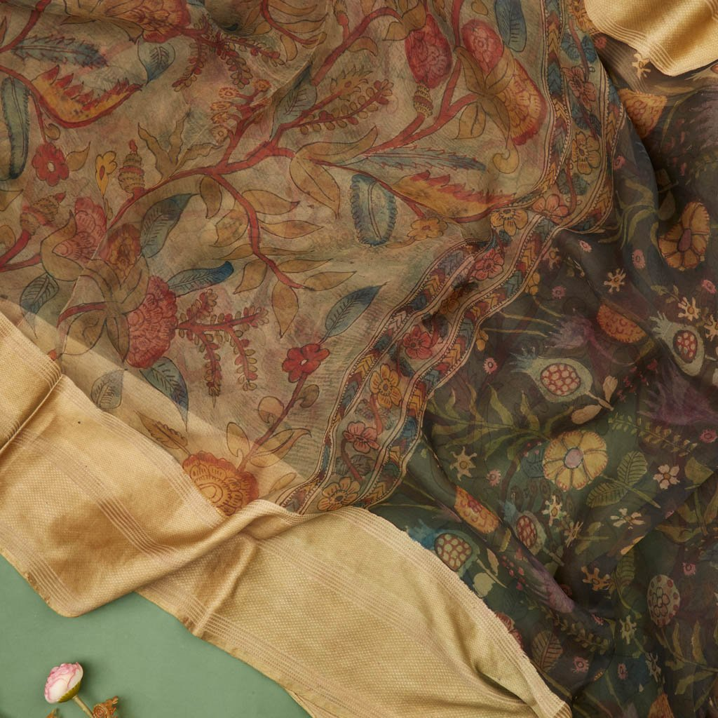 Buy Soft Beige Organza Kalamkari Saree