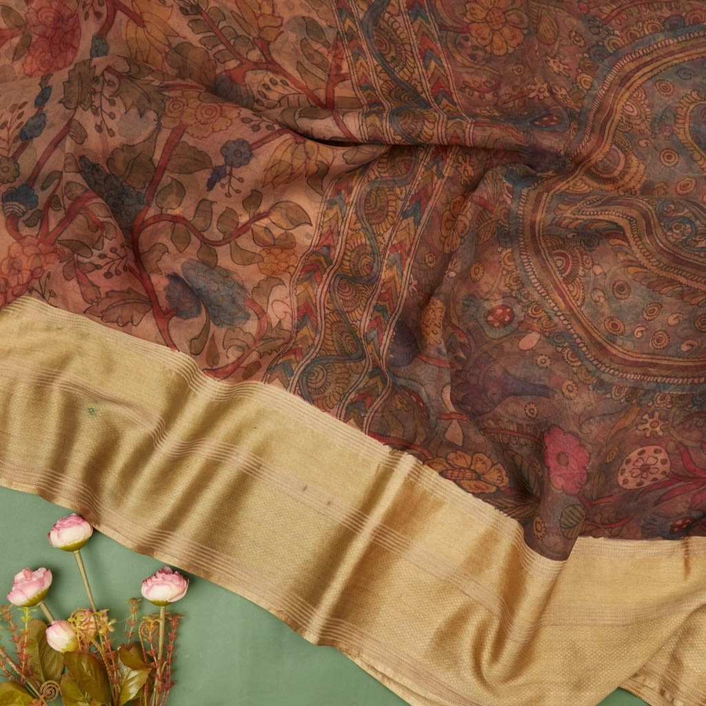 Buy Peach Organza Kalamkari Saree