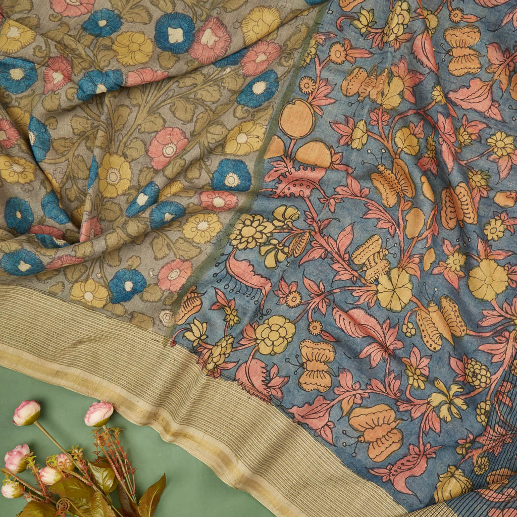 Earthy Brown Tussar Kalamkari Handloom Saree
