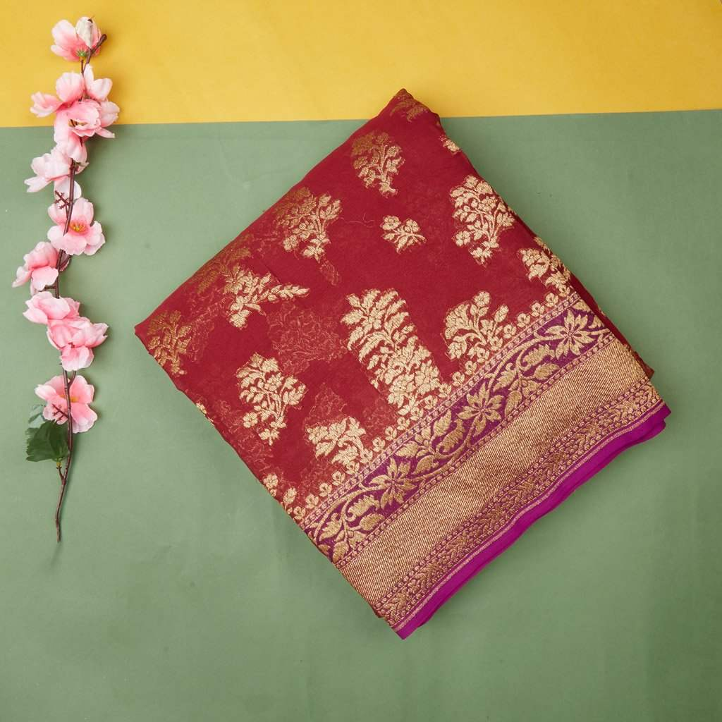 Berry Red Banarasi Georgette Saree