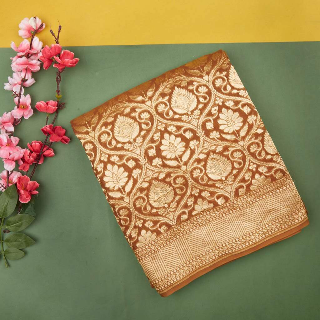 Chestnut Brown Banarasi Georgette Saree