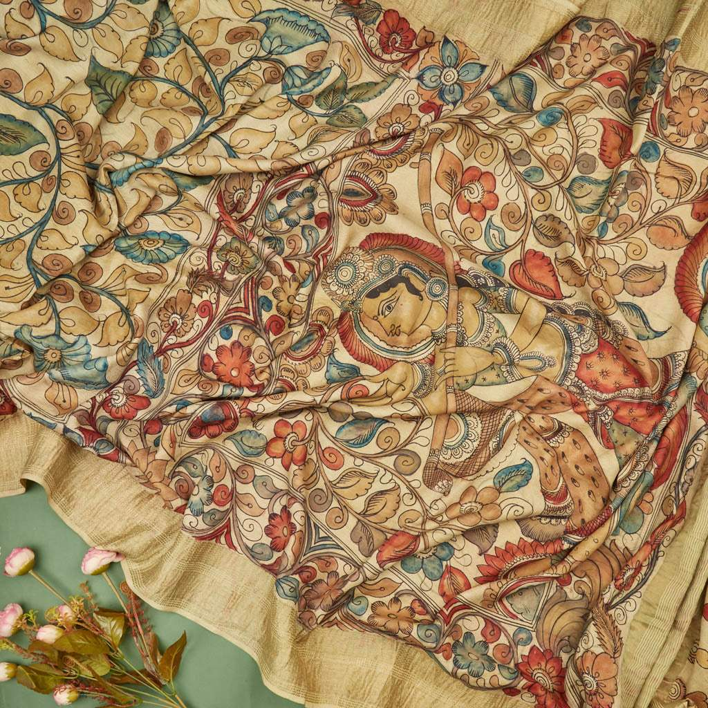 Cream Kalamkari Silk Handloom Saree