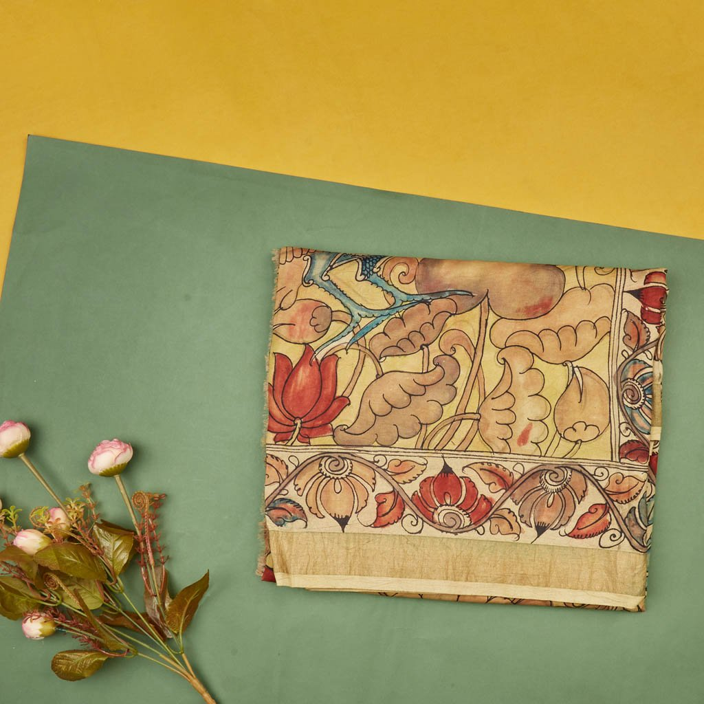Buy Mellow Yellow Kalamkari Silk Handloom Saree