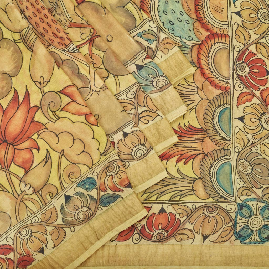 113395-Mellow Yellow Kalamkari Silk Handloom Saree