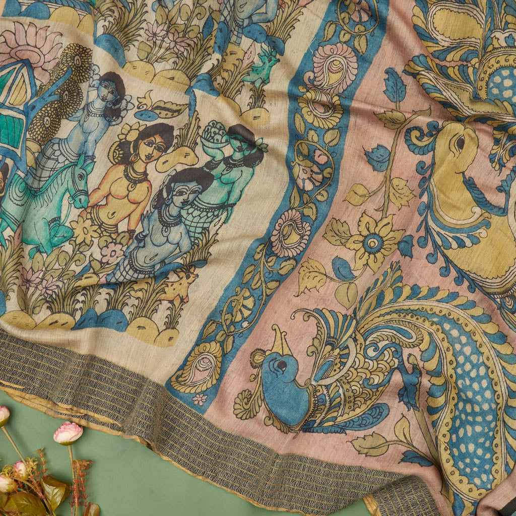 Soft Yellow Kalamkari Silk Handloom Saree