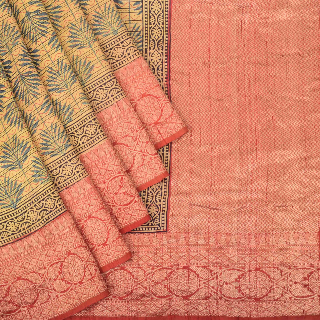 Earthy Yellow Ajrakh Printed Tussar Silk Saree-227173 - Singhania's