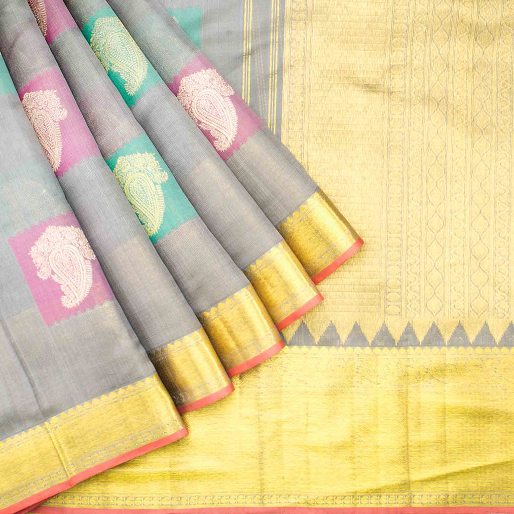 Grey Kanjivaram Silk Handloom Saree With Mangai Motifs