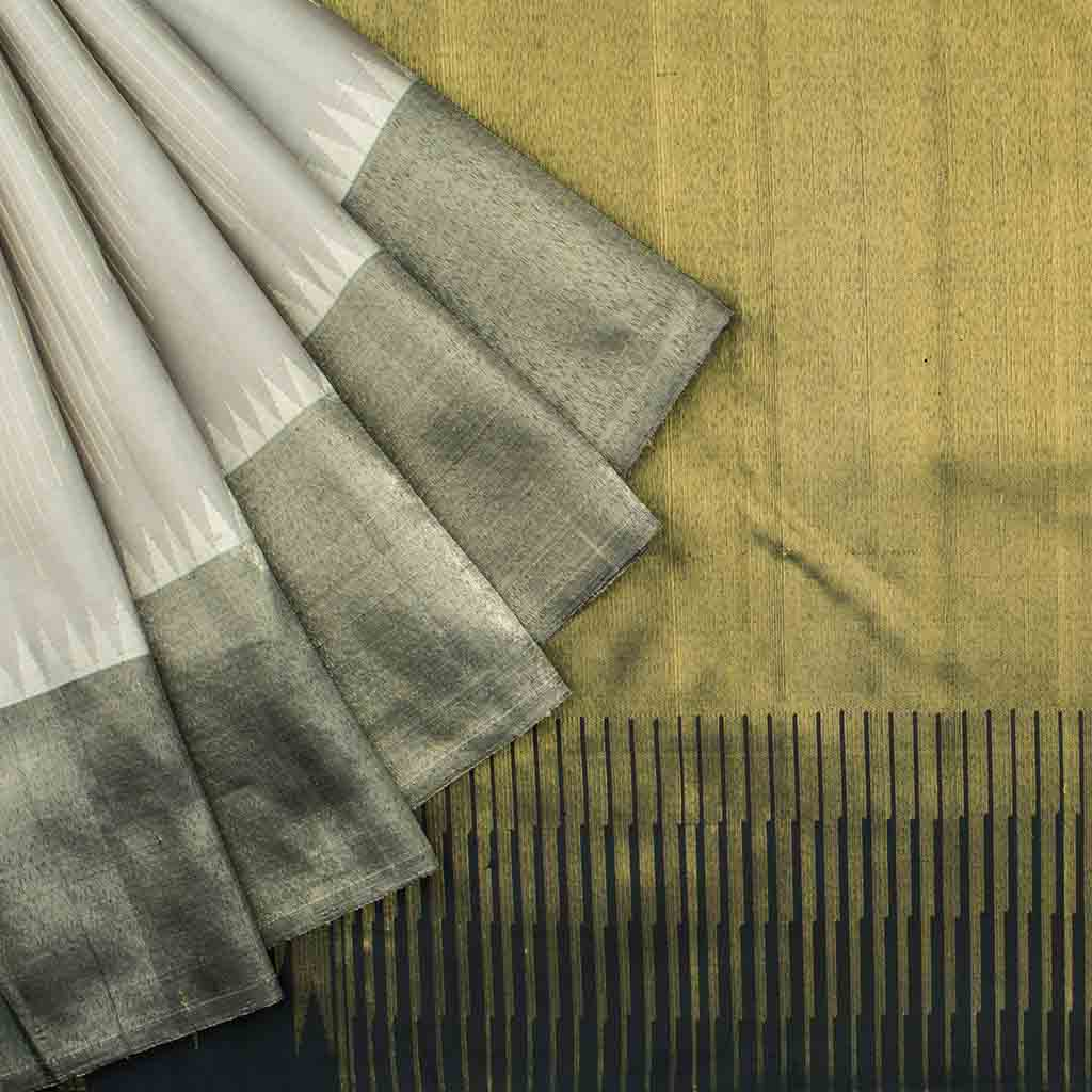 Grey Kanjivaram Silk Handloom Saree With Bavanchi Border