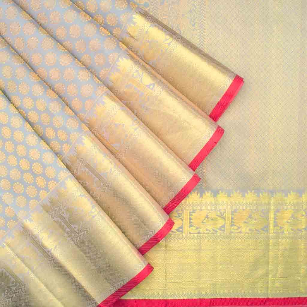 Grey Kanjivaram Silk Handloom Saree With Poo Buttas