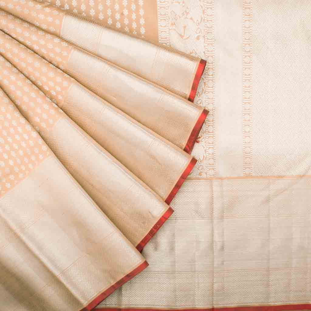 Dusky Peach Kanjivaram Silk Handloom Saree With Poo Buttas
