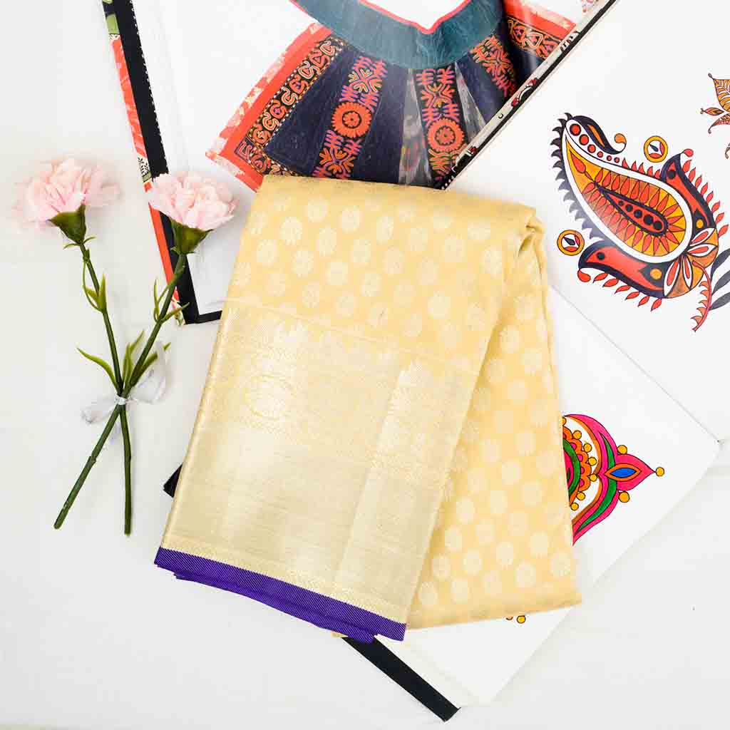 Mellow Yellow Kanjivaram Silk Handloom Saree With Poo Buttas