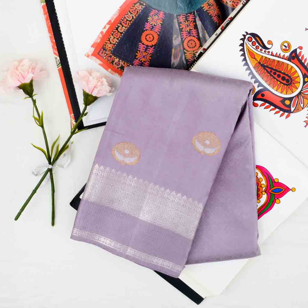 Lavender Mist Kanjivaram Silk Handloom Saree With Jaal Design