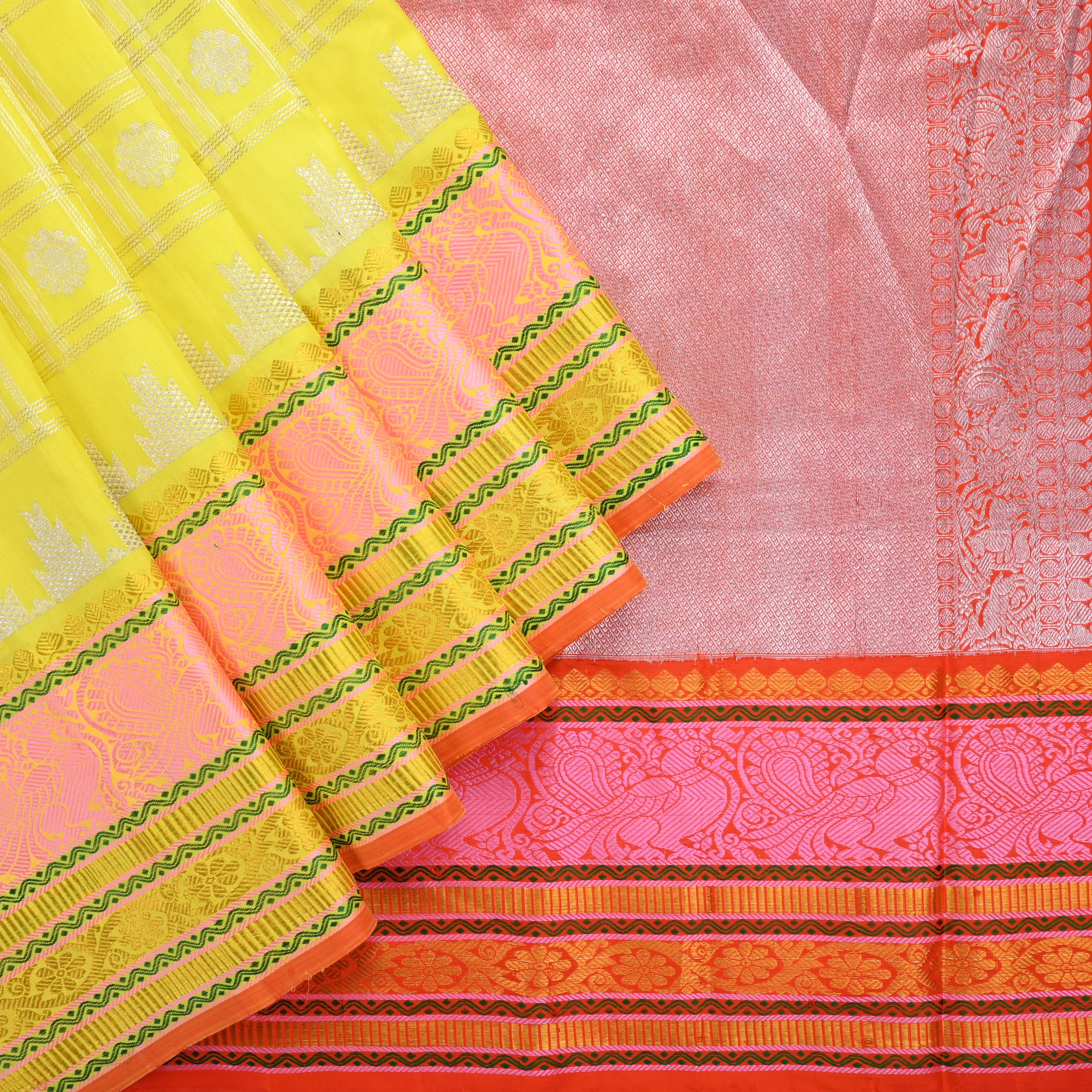 228858-Lemon Yellow Venkatagiri Silk Handloom Saree