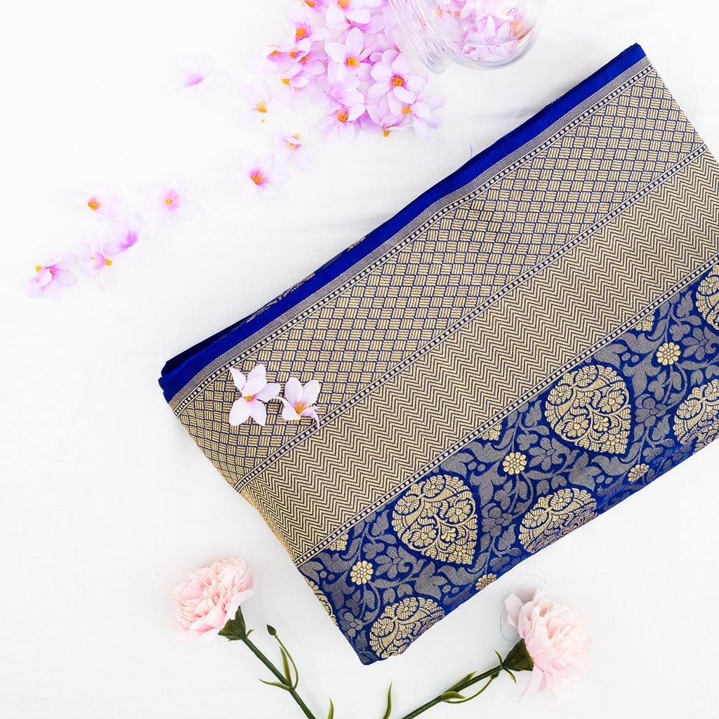 Royal Blue Banarasi Silk Handloom Saree With Floral Jaal-229394 - Singhania's