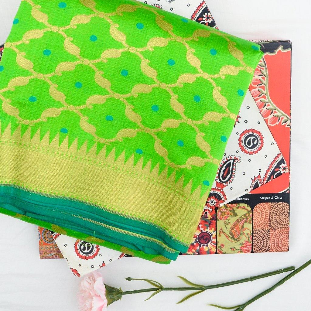 VIvid Green Banarasi Silk Handloom Saree With Jaal Design-229430 - Singhania's