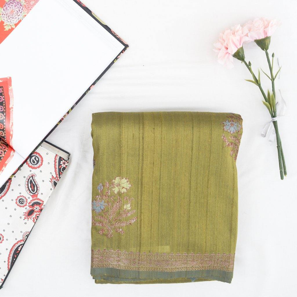 Light Olive Green Banarasi Tussar Handloom Saree With Floral Motifs-229641 - Singhania's