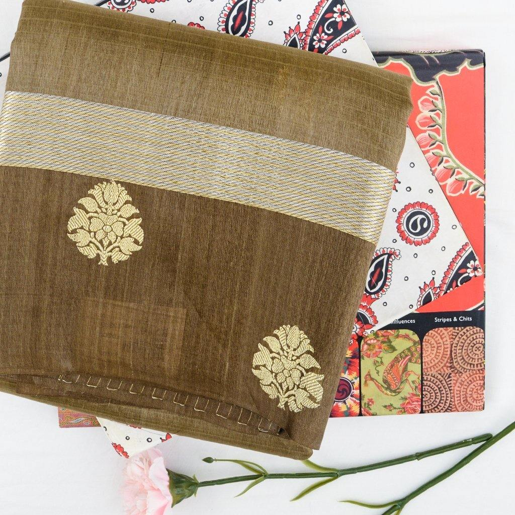 Deep Sand Brown Banarasi Tussar Handloom Saree With Floral Motifs-229660 - Singhania's