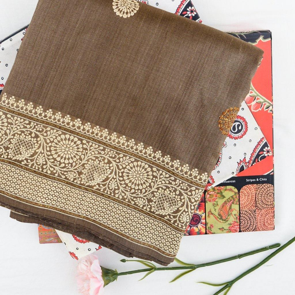 Vivid Brown Banarasi Tussar Handloom Saree With Floral Buttas-229662 - Singhania's