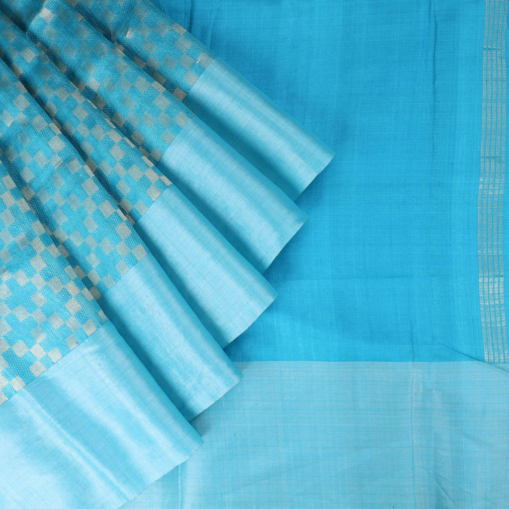 Cerulean Blue Tussar Handloom Saree With Chekcs