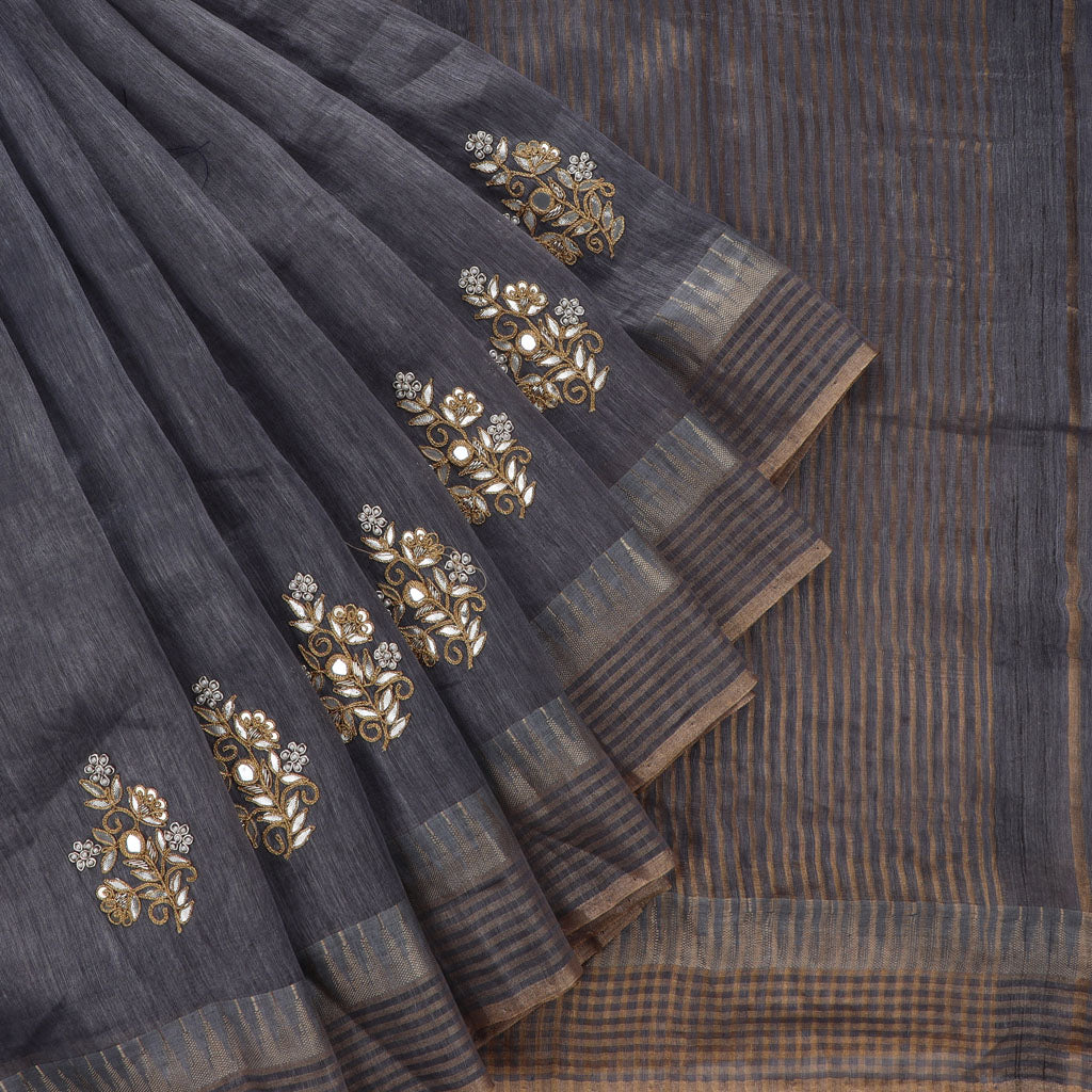 Deep Grey Linen Embroidery Saree With Gotta Patti