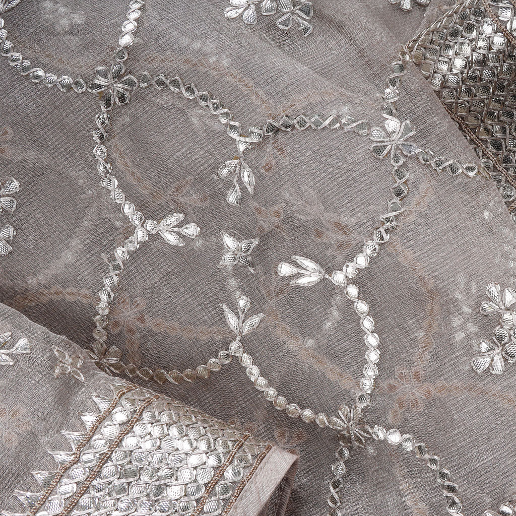 Silver Tissue Silk Embroidery Saree With Gotta Patti