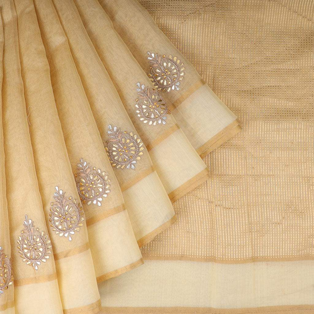 Beige Tissue Embroidery Saree With Gotta Patti