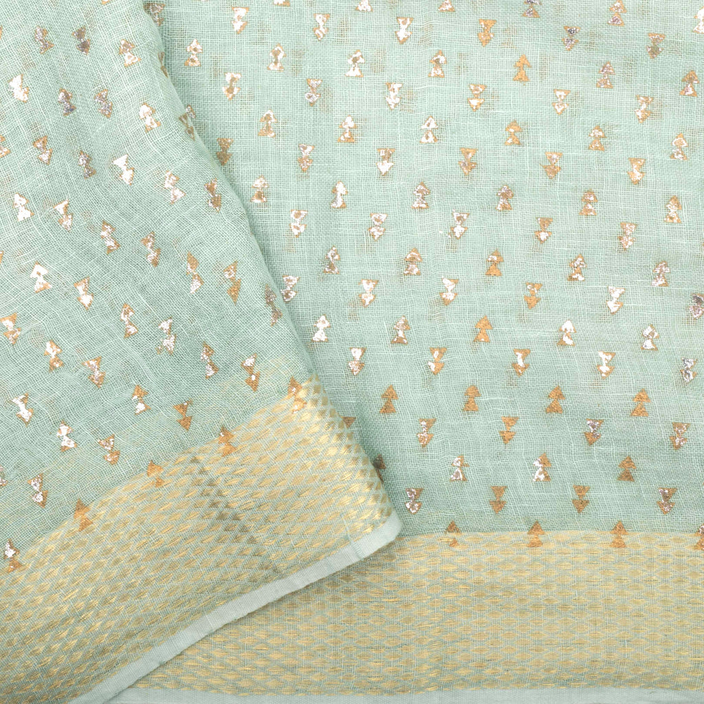 Mint Green Linen Foil Printed Saree With Floral Jaal-SALE232070 - Singhania's