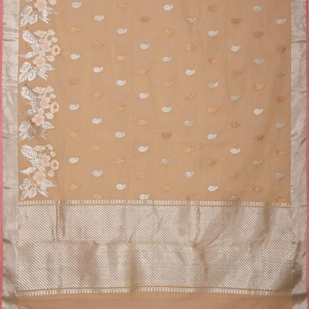 Beige Tissue Kota Silk Handloom Saree With Floral Motifs
