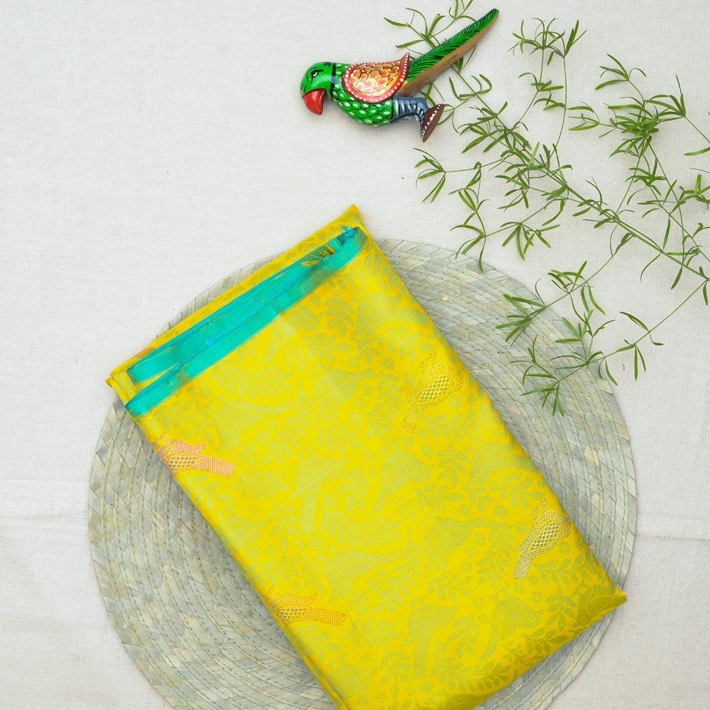 Sunshine yellow Borderless Kanjivaram Silk Handloom Saree-241972 - Singhania's