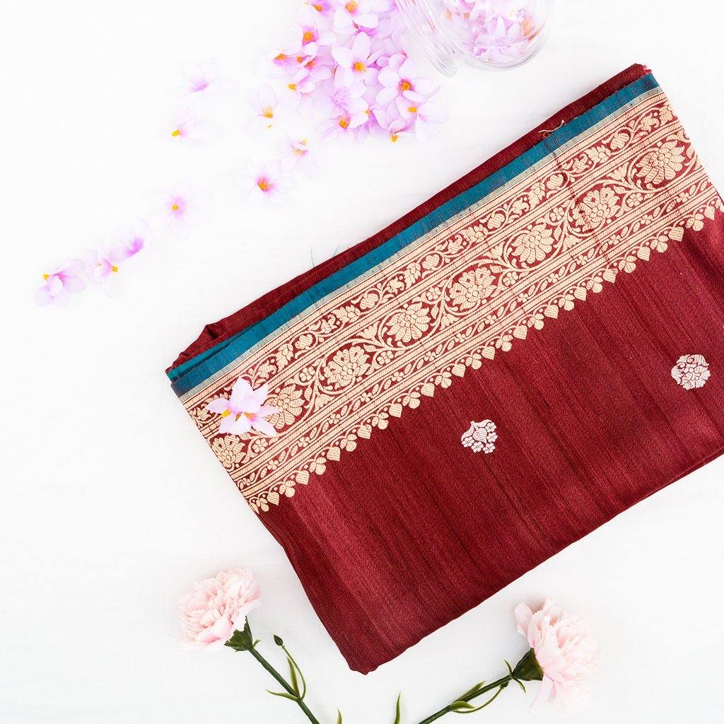 Vivid Red Banarasi Tussar Handloom Saree With Floral Buttas-241994 - Singhania's