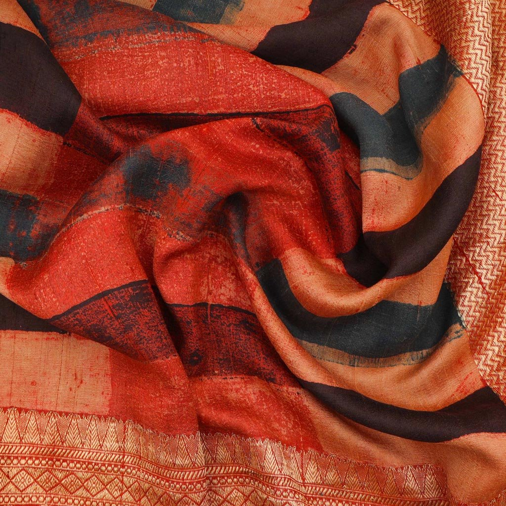 Multicolor Ajrakh Printed Tussar Silk Saree