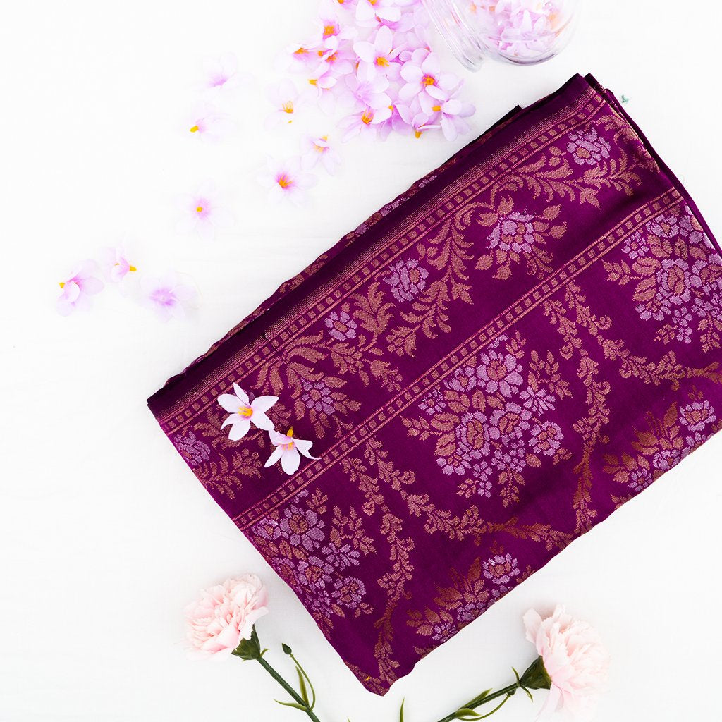 Tulip Purple Banarasi Silk Handloom Saree
