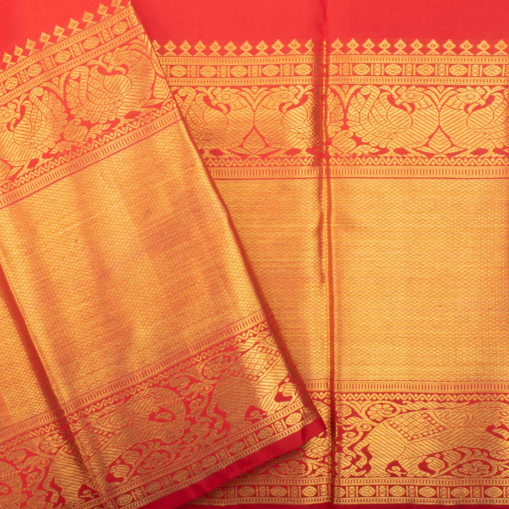 Vermillion Red Kanjivaram Silk Handloom Saree With Checks-244726 - Singhania's