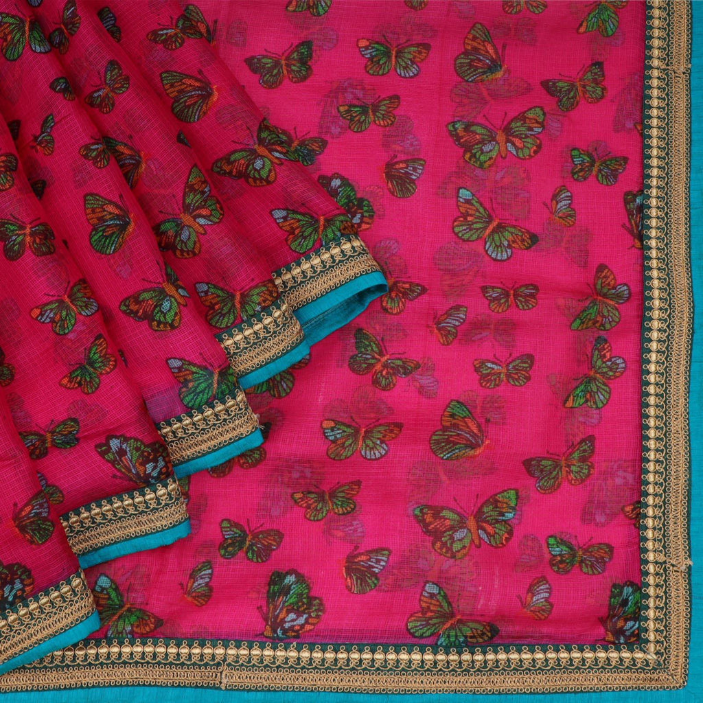 Rani Pink Kota Silk Printed Saree With Butterfly Motifs-SALE244790 - Singhania's