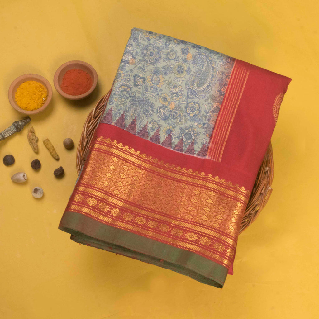 Soft Grey Printed Gadwal Silk Handloom Saree