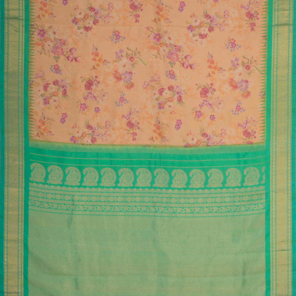 Deep Peach Printed Gadwal Silk Handloom Saree