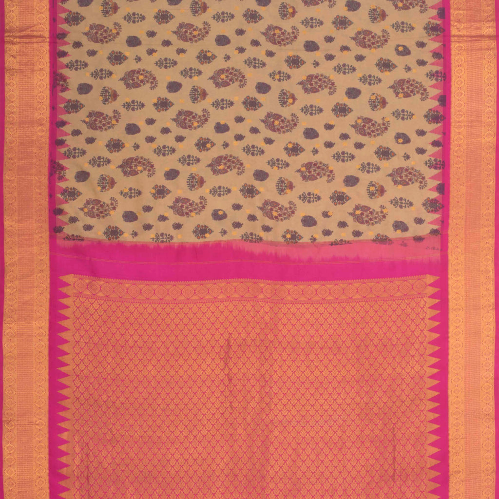 Sand Brown Printed Gadwal Silk Handloom Saree