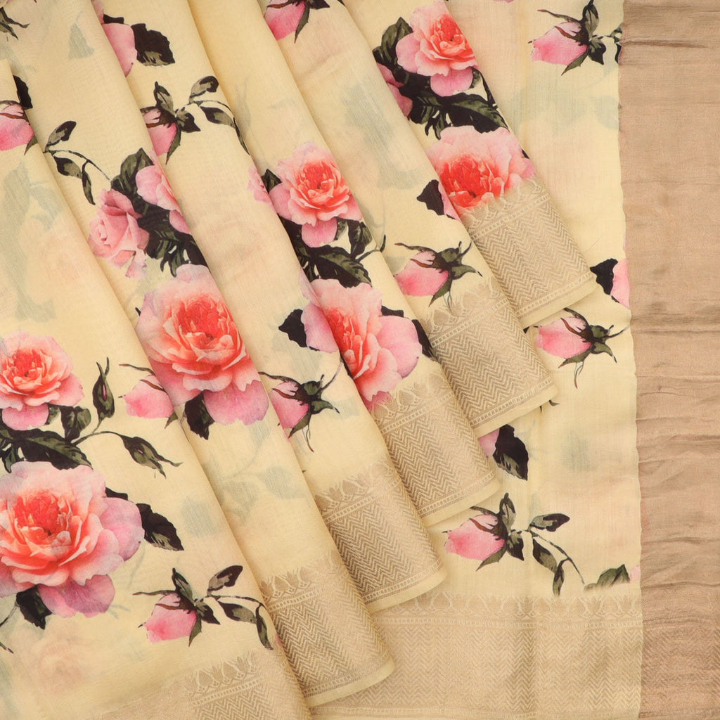 Pearl Yellow Floral Printed Silk Saree