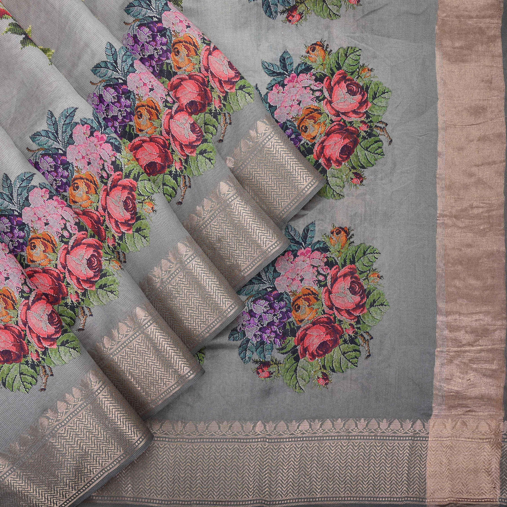Grey-Peach Floral Printed Silk Saree-245472 - Singhania's