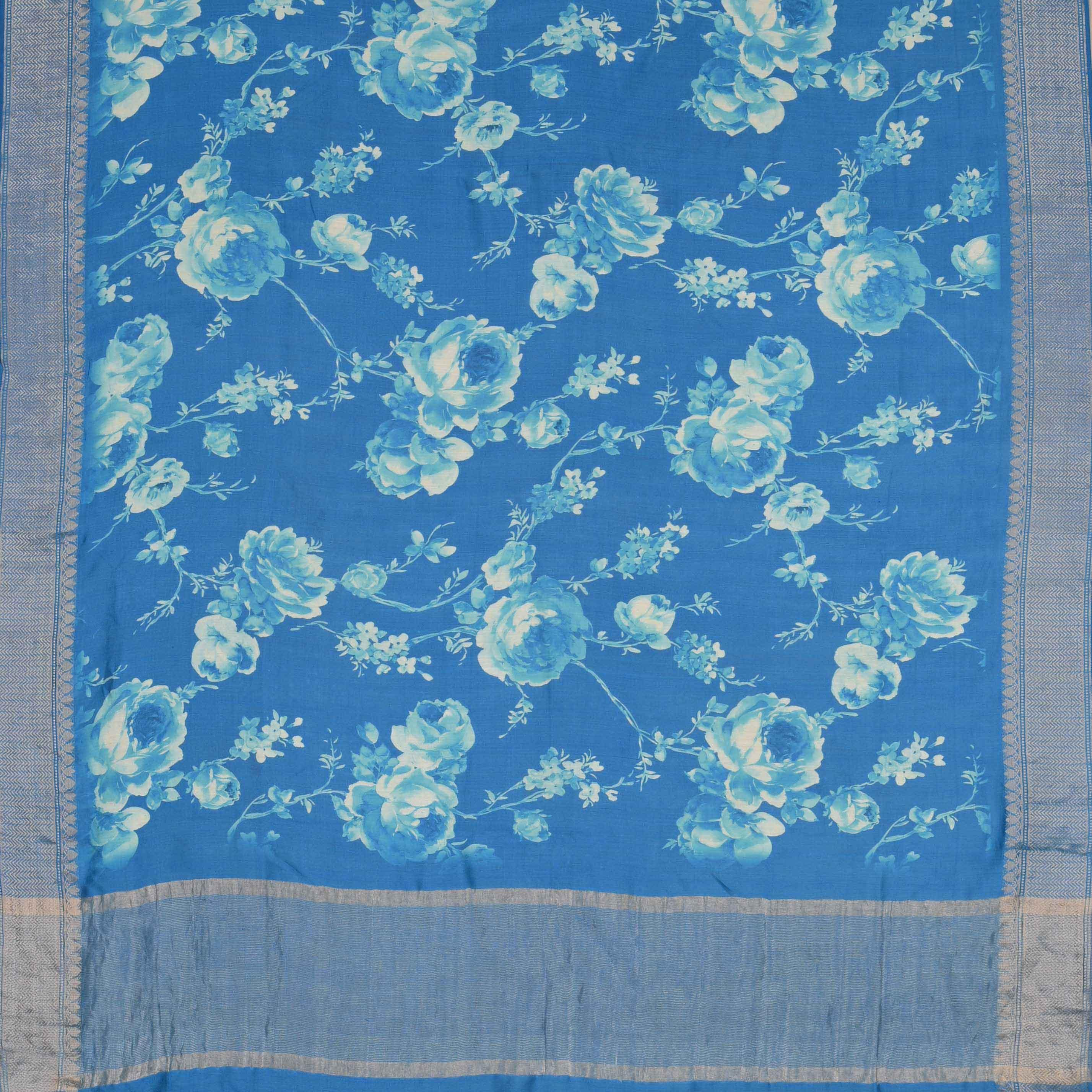 245476-Cerulean Blue Printed Silk Handloom Saree
