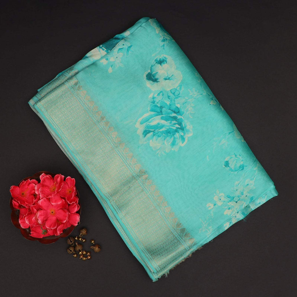 Cyan Blue Floral Printed Silk Saree