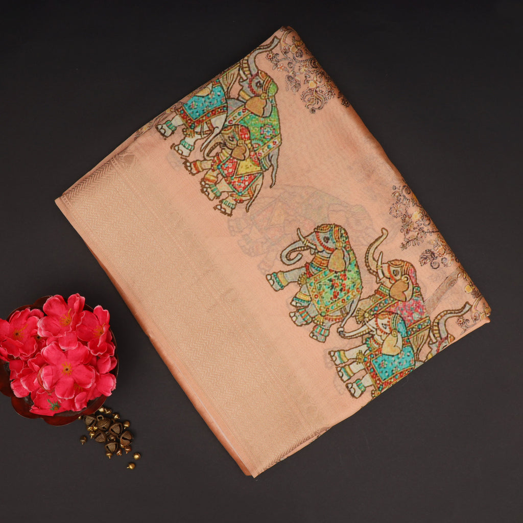Peach Printed Silk Saree With Tree And Elephant Motifs