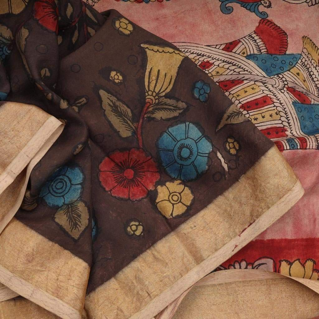 Brown Kalamkari Silk Handloom Saree