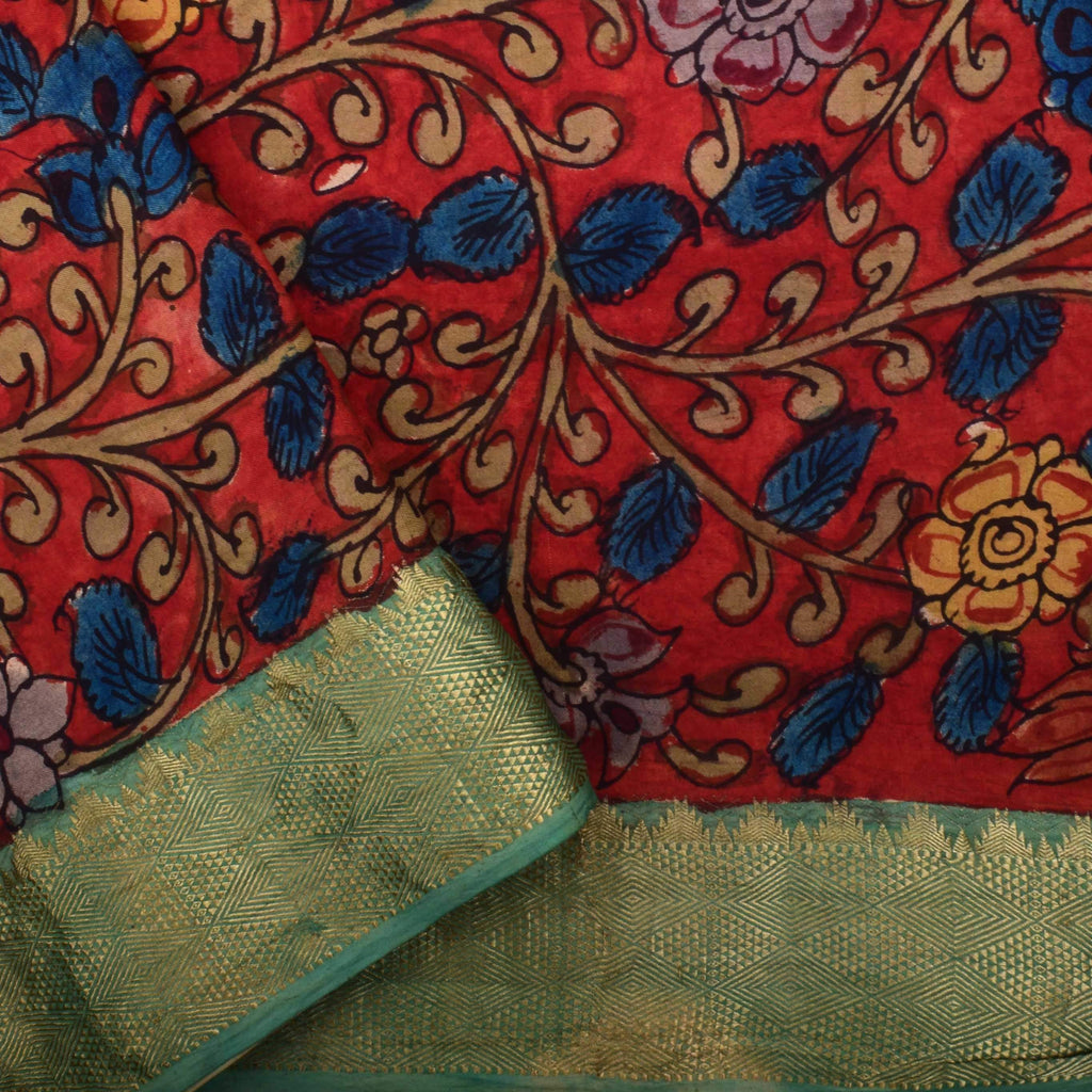 Cream Kalamkari Silk Handpainted Saree